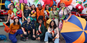 Group photo of SIM students that participating in Nick Cave's Joy Parade in Boston in 2019.